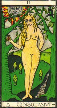 The High Priestess as Eve; unashamed of her knowledge.