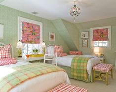 pretty pink and green bedroom