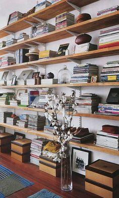 Wall of bookshelves.
