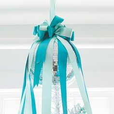 disco ball with ribbon... fun ornament idea for christmas or party!