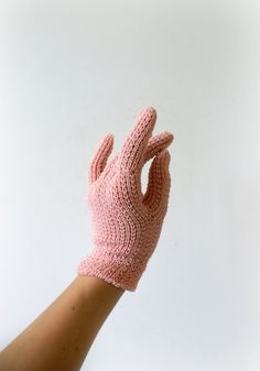 1950s Vintage Gloves  Pink Knit Lady Gloves  A by Sweetbeefinds, $28.00