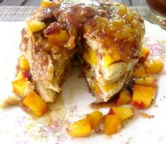 Peach Cobbler Crumble Pancakes with Peach Syrup & Cinnamon Butter ...