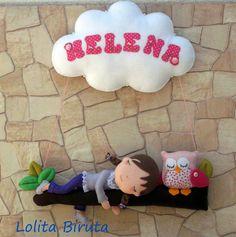 Enfeite para porta de maternidade rosa e lilás para meninas