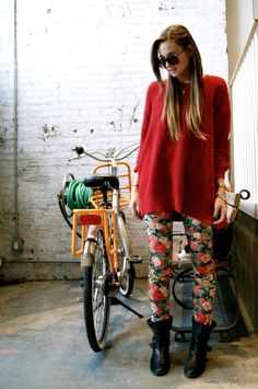 fashion, floral prints, printed pants, style, printed leggings, leather boots, flower prints, outfit, oversized sweaters