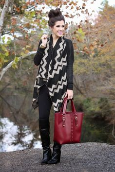 loose cardigan, leggings, and boots