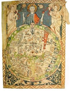 c.1460 Psalter Map of the medieval world delighting in a terrestrial paradise