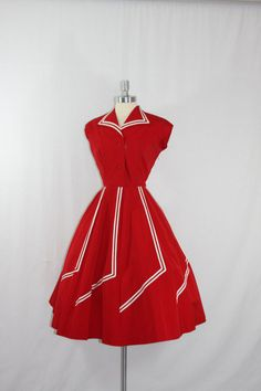 1950's Vintage Dress  Stunning Red with White stripes by VintageFrocksOfFancy
