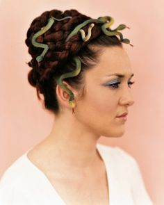 No-Sew Halloween Costumes via Martha Stewart - weave rubber snakes into your braid and turn everyone into stone!
