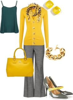 Do it the CAbi way...Ochre Burn Out Tunic and gravel My Favorite Trousers.
