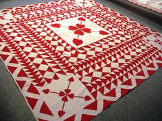 Red & White Quilt with Double Heart design