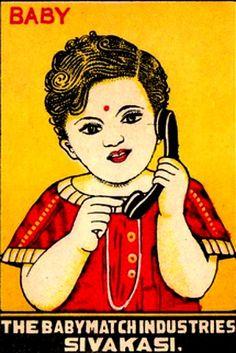 vintage Indian matchbox label