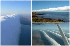 Morning glory clouds are a natural phenomenon spotted every spring in the Gulf of Carpentaria, Australia. The rare clouds occur at altitudes of up to 2 km high, stretch 1,000 km long and move at speeds of about 60 km/h/.