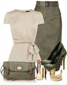 Military Outfit Idea for Spring 2014, ivory top, pencil dress and pumps (maybe I should keep my army green sky high booties?)