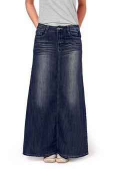 Maxi style dark wash modest denim skirt. Lovely long jeans skirt in soft medium weight denim.
