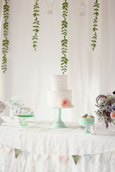 Adorable dessert table & decor in this vow renewal on Style Me Pretty! Photography by simplybloomphotography.com, Event Styling by worthwhilestyle.com, Wedding Cake: Intricate Icings / Cake Pops: The Cake Poppery