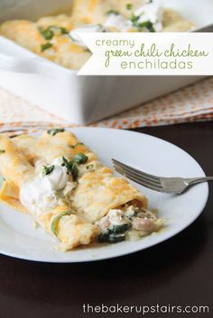 Creamy green chili chicken enchiladas from The Baker Upstairs. These enchiladas are so creamy and flavorful and delicious! www.thebakerupstairs.com