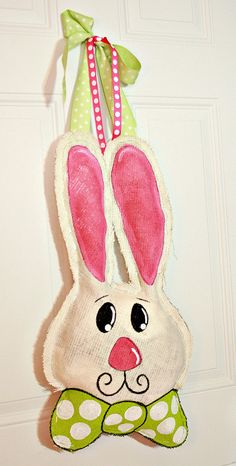 Hand Painted Easter Burlap Bunny Rabbit Door / Wall Hanger Decoration HUGE 2 ft  - Spring.