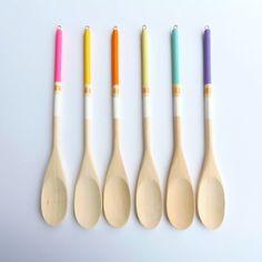 Modern Neon Hardwood Serving Spoons, Set of 6