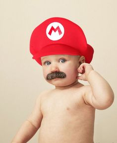 Moustache + Mario hat: this guy's gonna get all the girls!