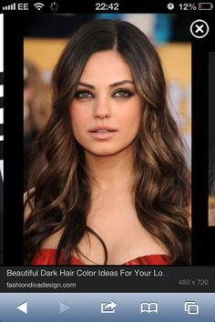 Dark hair with caramel highlights. This is like how I want my hair almost exactly