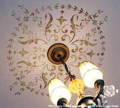 Close-up of 19th Century Ceiling Medallion Stencil  | Royal Design Studio | Artist: Patty Presto