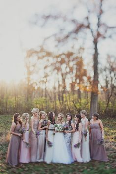 Mismatched maids in lavender. Photography: Kelly Maughan Photography - www.kellymaughan.com  Read More: http://www.stylemepretty.com/2014/05/12/rustic-winery-wedding/