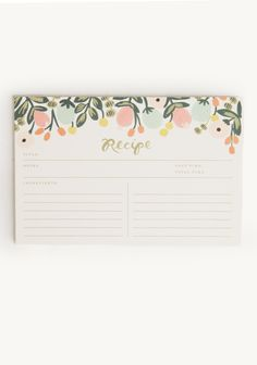 Hanging Garden Recipe Cards By Rifle Paper Co.