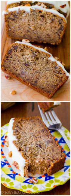 4 whole bananas, brown sugar, extra egg, and yogurt makes this banana bread super-moist and soft! Recipe at sallysbakingaddiction.com
