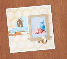 Welcome Baby Scrapbook Layout. Make It Now in Cricut Design Space
