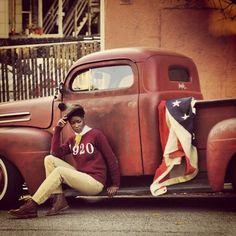 sweater, flag, vintag truck, style, farm truck