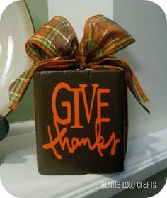 Give Thanks Wood Block