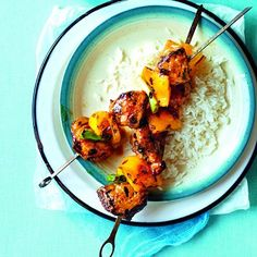 meal that won't take forever to prepare? Miso-glazed pork kebabs ...