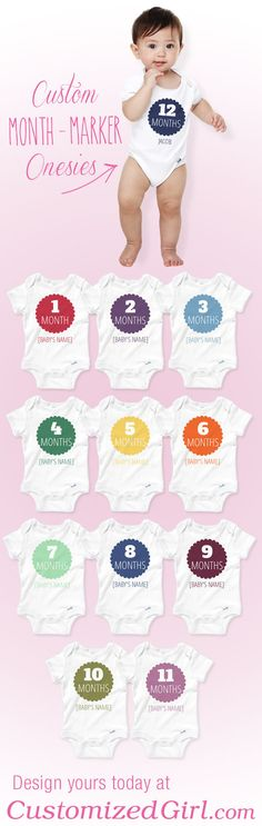 Custom Month Marker Onesies from CustomizedGirl!