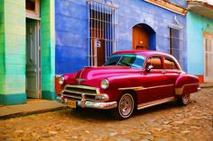 Red car in Trinidad, Cuba