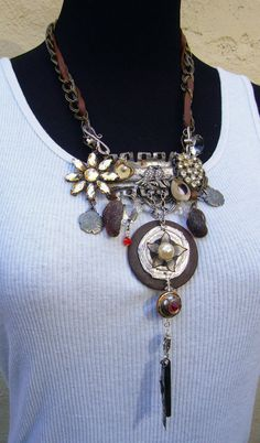 SUZANNE Steampunk Assemblage NECKLACE Tangle Chain Statement Jewelry