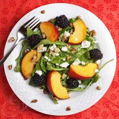 I love peach season! Peach Blackberry Arugula Salad via Jeanette's Healthy Living #summerfest #FNDish #salad