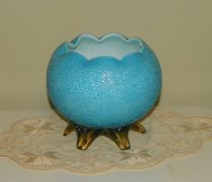 Antique Overshot cased Glass Rosebowl Rose Bowl Blue white Victorian Amber applied pulled feet