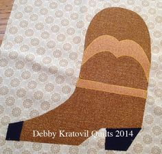 Cowboy Boot applique, free pattern at Debby Kratovil Quilts