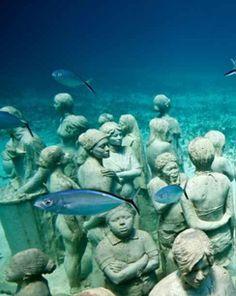 Underwater museum on Isla Mujeres, Mexico: