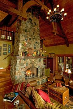 Fieldstone Fireplace traditional living room - B likes this