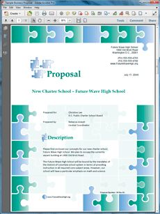 Charter School Educational Sample Proposal - Create your own custom proposal using the full version of this completed sample as a guide with any Proposal Pack. Hundreds of visual designs to pick from or brand with your own logo and colors. Available only from ProposalKit.com (come over, see this sample and Like our Facebook page to get a 20% discount)