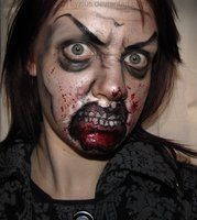 Zombie makeup with lips torn off