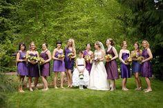 Purple 'maids dresses.