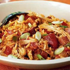 Leftover Turkey Jambalaya -- tasty way to use up leftover turkey breast for Phase 1, with brown rice and nitrate-free chicken or turkey sausage. Just saute the veggies in broth instead of oil.