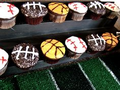 Sports themed birthday party cupcakes.  These don't look too difficult to make either!