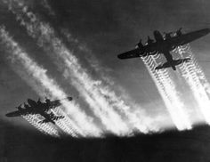 High over Germany, a flight of B-17s from the 398th Bomb Group on a sortie to Neumunster on April 8, 1945 british isles, war photography, aviat, plane, airplan, fli fortress, aircraft, vapor trail, b17 fli
