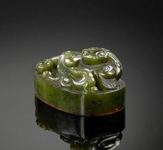 Rare jade imperial seal chop with the stamp 'Yushufang Jiancang Bao', of Emperor Qianlong era (reigned from 1736-1795), Qing Dynasty.