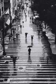 Rain in black and white in the city