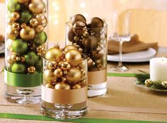 vases full of metallic ornaments - such a simple centerpiece idea!  #holidayentertaining
