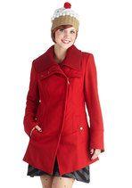 Diagonal Alley Coat in Red | Mod Retro Vintage Coats | ModCloth.com